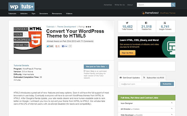 Web development 10 useful html5 tutorials and examples for Convert html template to wordpress theme online