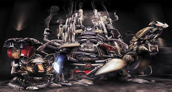 Create a Robotic Motorcycle God Using Motorcycle Photography