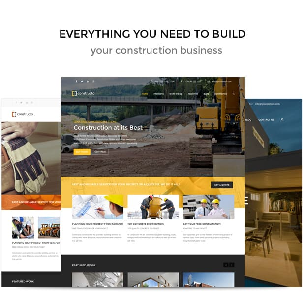 10 best premium wordpress themes for construction websites for Home building websites