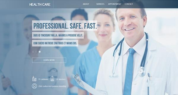 Best Premium Adobe Muse Landing Page Templates - Medical landing page template