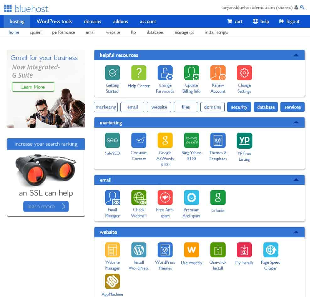 Guide to bluehost control panel the control panel serves as the command center where you can access your accounts manage your domains install scripts and applications back up your site xflitez Choice Image